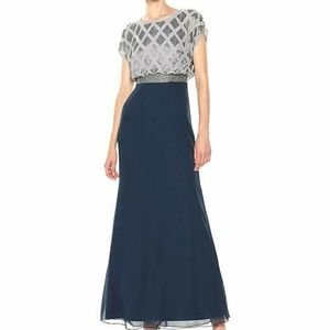 Adrianna Papell Gown Navy/Silver Beaded Sz 16